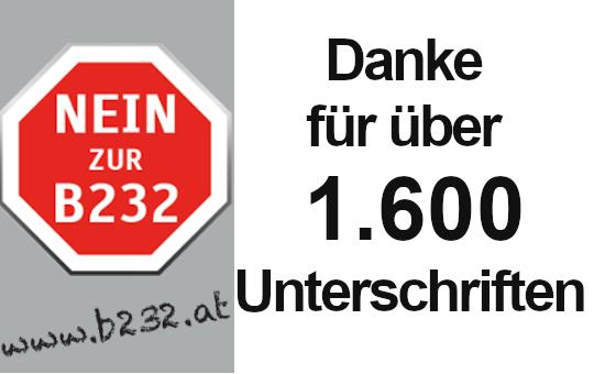Danke für über 1.600 Unterschriften gegen die B232