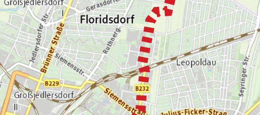 Die KArte zeigt den Verlauf der geplanten B232 von der Stammersdorfer Straße bis ins Donaufeld an.