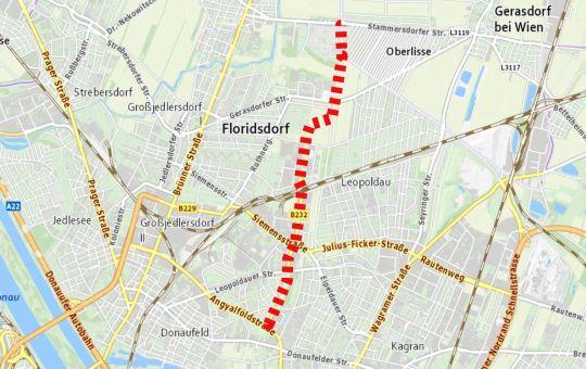 Karte der Hochleistungsstraße B232