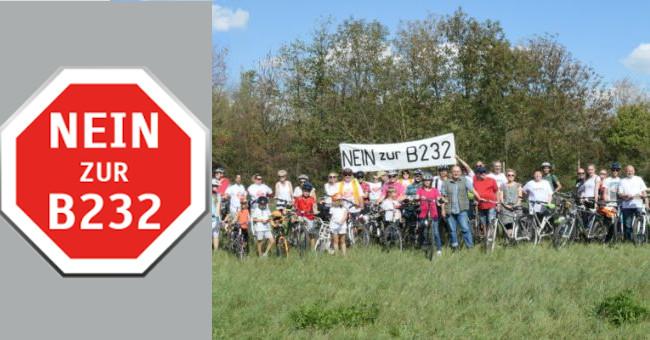 Radfahrt Nein zur B232