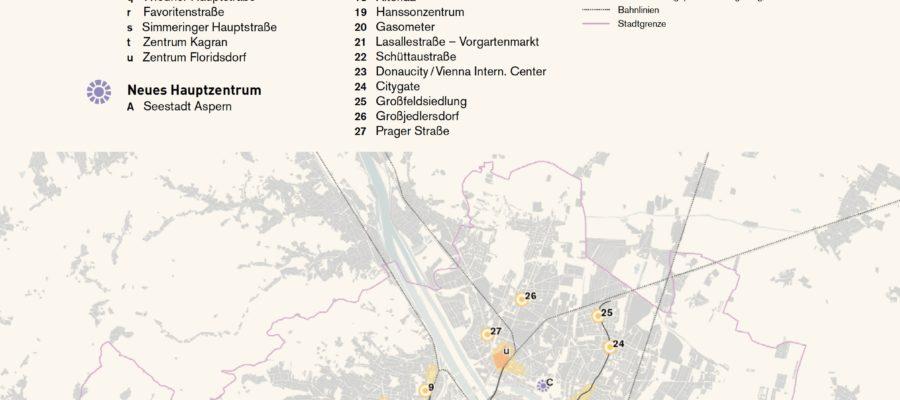 Karte zum Räumlichen Leitbild Polyzentrale Stadtstruktur Wien