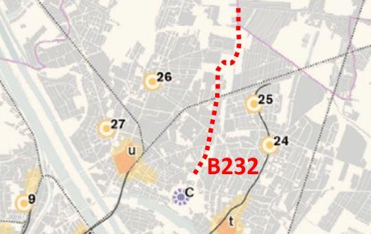 Kartenausschnitt Leitbild Polyzentrale Stadtstruktur mit Verlauf der B232