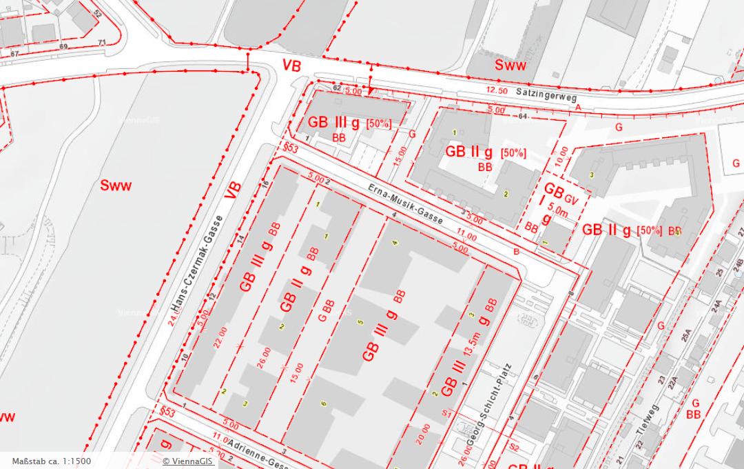 Bebauungsplan mit 24-Meter-Verkehrsband-Widmung im Bereich Hans-Czermak-Gasse